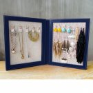 Travel Magnetic Jewelry Book Clutch Storage Organizer Case Box - Earrings Bracelet Necklace (Navy-O)