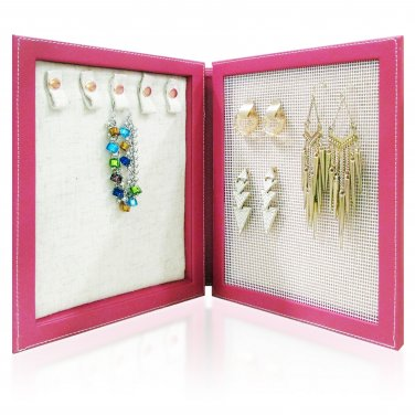 Travel Magnetic Jewelry Book Clutch Storage Organizer Case Box - Earrings Bracelet Necklace (Rasp-O)