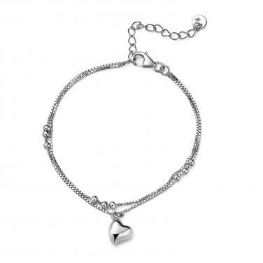 925 Sterling Silver Double Chain Dangle Heart Charm Bracelet, Women Jewelry Gift C06177B