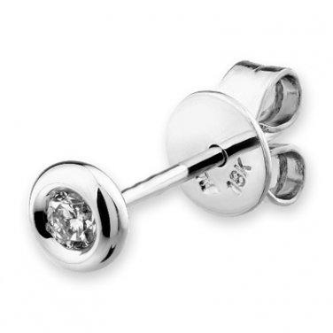 18K White Gold Round Diamond Bezel Setting Single Earring (0.08 ct) D00162L
