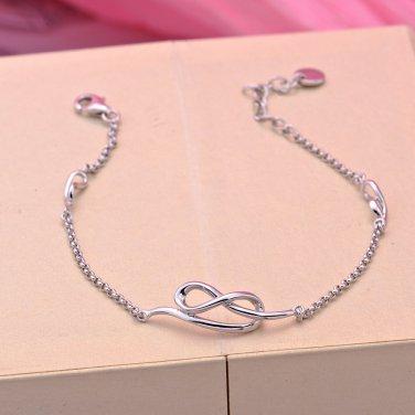 "925 Sterling Silver Infinity Bracelet 6.5"" Valentines Anniversary Girlfriend Couple Gift B05733B"