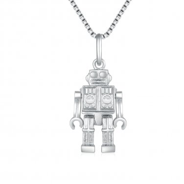 "925 Sterling Silver Exquisite Crafting Robot Movable Hands Legs Pendant Necklace Gift, 16"" Q24350P"
