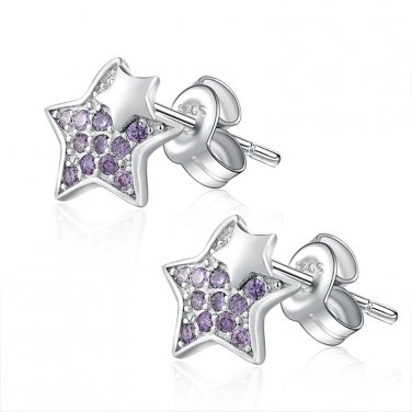 925 Sterling Silver Double Stars with Purple CZ Stud Earrings, Valentines Women Jewelry Gift C06689E