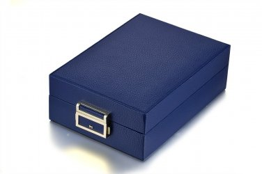 Navy Blue Double Layer Travel Jewellery Storage Case Box w/ Lock & Mirror