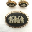 Wedgewood England Vintage 1950's Black & White Pin and Earring Set