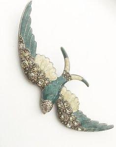 Catherine Popesco France Rare Vintage Enamel & Rhinestone Bird Brooch