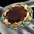 Schiaparelli Vintage Topaz Colored Glass And Turquoise Art Glass Brooch