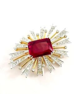Kenneth J Lane KJL Vintage Rhinestone Starburst Brooch