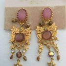 Kinks Folly Cabochon And Rhinestone Dangling Chandelier Flower Motif Earrings