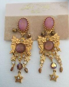 Kinks Folly Cabochon And Rhinestone Dangling Chandelier Flower Motif Earrings