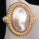 Givenchy Vintage Large  Couture Faux Pearl Clip On Earrings