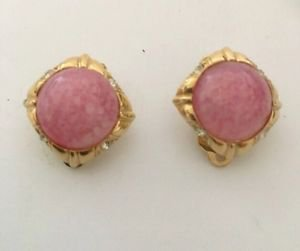 Nina Ricci Petite Pink Cabochon  And Rhinestone Earrings