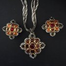 Ann Klein Vintage Three Strand Glass Cabochon Necklace And Earring Set