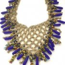 Stunning Vintage Dangling Lapis Glass Bib Necklace