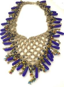 Stunning Vintage Dangling Lapis Glass Bib Necklace
