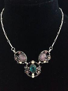 Coro Style Vintage Glass Rhinestone & Faux Pearl Choker Necklace