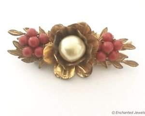 Miriam Haskell 1940's Faux Pearl And Red Glass Bead Brooch
