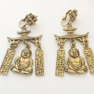 Vintage Pagoda Dangling Buddha Asian Motif Earrings