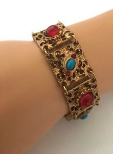 Vintage Gold Tone Cabochon And Faux Turquoise Bracelet