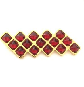 Yves Saint Laurent  Vintage 1980's Red Glass Cabochon Modernist Pin / brooch