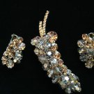 D & E  Juliana  BOOK PIECE  .Stunning Beaded Leaf Pin & Earrings