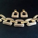 Givenchy Vintage Silver And Gold Tone Link Bracelet And Earring Set