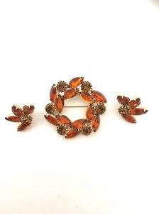 Weiss Vintage  Pin / Brooch & Earrings