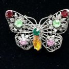 Vintage Filigree Rhinestone Butterfly Pin