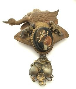 1930's-40's Brass ,Copper And Lucite Goose,Tiger Acorn Brooch