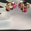 Made In Austria Vintage Pink,Purple And Aurora Borealis Rhinestone Earrings