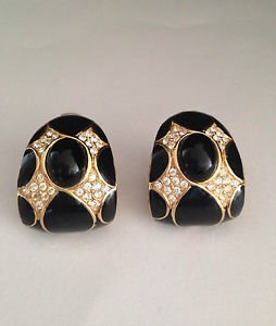 Ciner Black Enamel And Cabochon Crystal Rhinestone Earrings