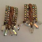Vintage  Aurora Borealis  Rhinestone And Lucite Bead Earrings
