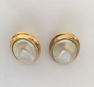 Yves Saint Laurent YSL Vintage 1980's Large Faux Pearl Earrings.