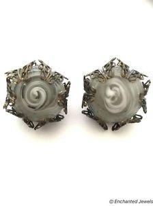 Miriam Haskell Vintage Swirl Art Glass Filigree Clip On Earrings