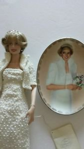 Franklin Mint Porcelain Princess Diana Doll With Matching Commemorative Plate