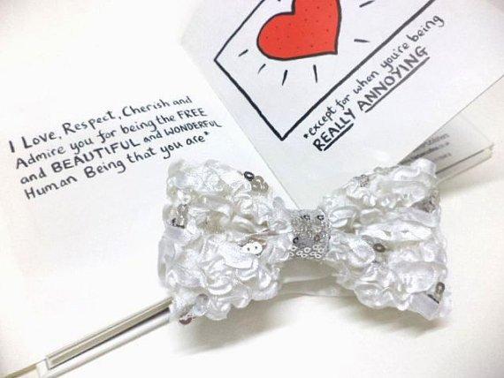 Groom bow tie, Bridal bowtie, White crepe satin sequin bowtie,wedding, pre-tied