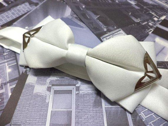 White bowtie with silver colour metal tips,men bow tie,Wedding,steampunk