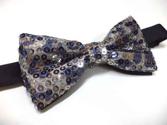 Leopard Print Sequin Bow tie, Mens bowtie, party, wedding , pre-tied bow tie