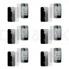 12pcs= 6x Front + 6x Back Screen Protector Cover Film for Apple iPhone 4 4S 4G