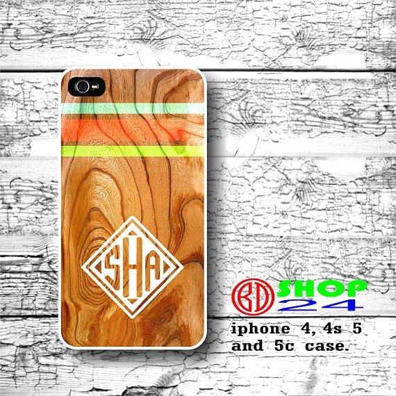 Wood iPhone 4 4s case, art wood case iphone 4 4s case, White Monogram cover Green chevron case