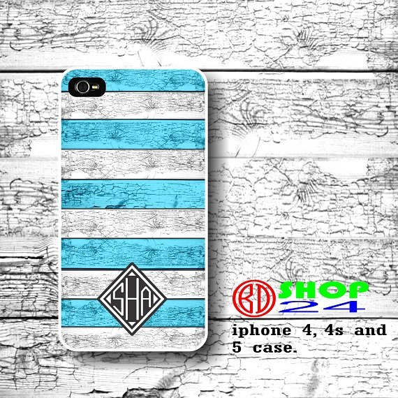Wood Monogram iPhone 4 4s case, Custom iPhone 4s Case, Personalized iPhone 4 case, Blue wood cover