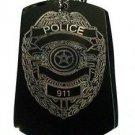 Police 911 Emergency Badge Logo - Dog Tag w/ Metal Chain Necklace