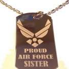 Military Dog Tag Metal Chain Necklace - Proud Air Force Sister USAF Wings Logo