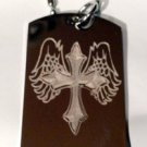 Angel Wings Wing Holy Cross Jesus Christ Logo  - Dog Tag w/ Metal Chain Necklace