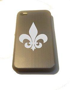 Fleur De Lis Armor Engraved Logo - FITS iPhone 4 / 4s Aluminum Silver Case