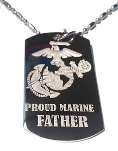 United States USMC Marine Marines Proud Father - Dog Tag w/ Metal Chain Necklace