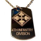 Military Dog Tag Metal Chain Necklace - United States Army 4th Infantry Division
