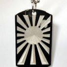 Rising Red Sun Japan Japanese Flag Logo - Dog Tag w/ Metal Chain Necklace
