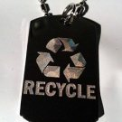 Reduce Reuse Recycle Arrows Symbol - Dog Tag w/ Metal Chain Necklace