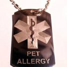 Medical Emergency Pet Allergy Logo Symbol - Dog Tag w/ Metal Chain Necklace